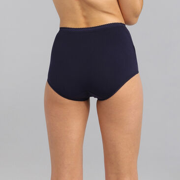 Lot de 3 culottes taille haute rouge foncée, blanche et bleu marine Cotton Stretch, , PLAYTEX