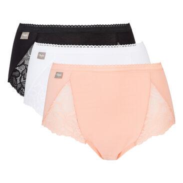 Pack de 3 bragas de algodón y de encaje midi blanca, rosa y negra , , PLAYTEX