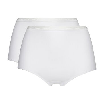2 pack of white full briefs in organic cotton, , PLAYTEX