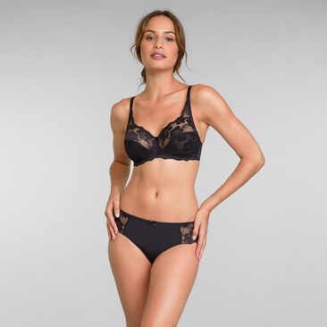 Non Wired Bra in Black Lace Essential Elegance, , PLAYTEX