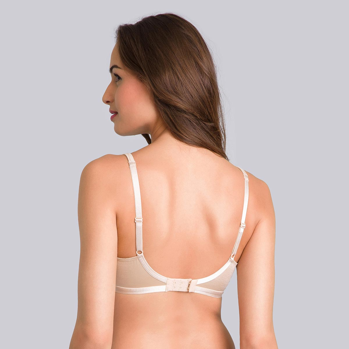 Non-Wired Full Cup Bra in Beige - Satiny Micro-Support-PLAYTEX