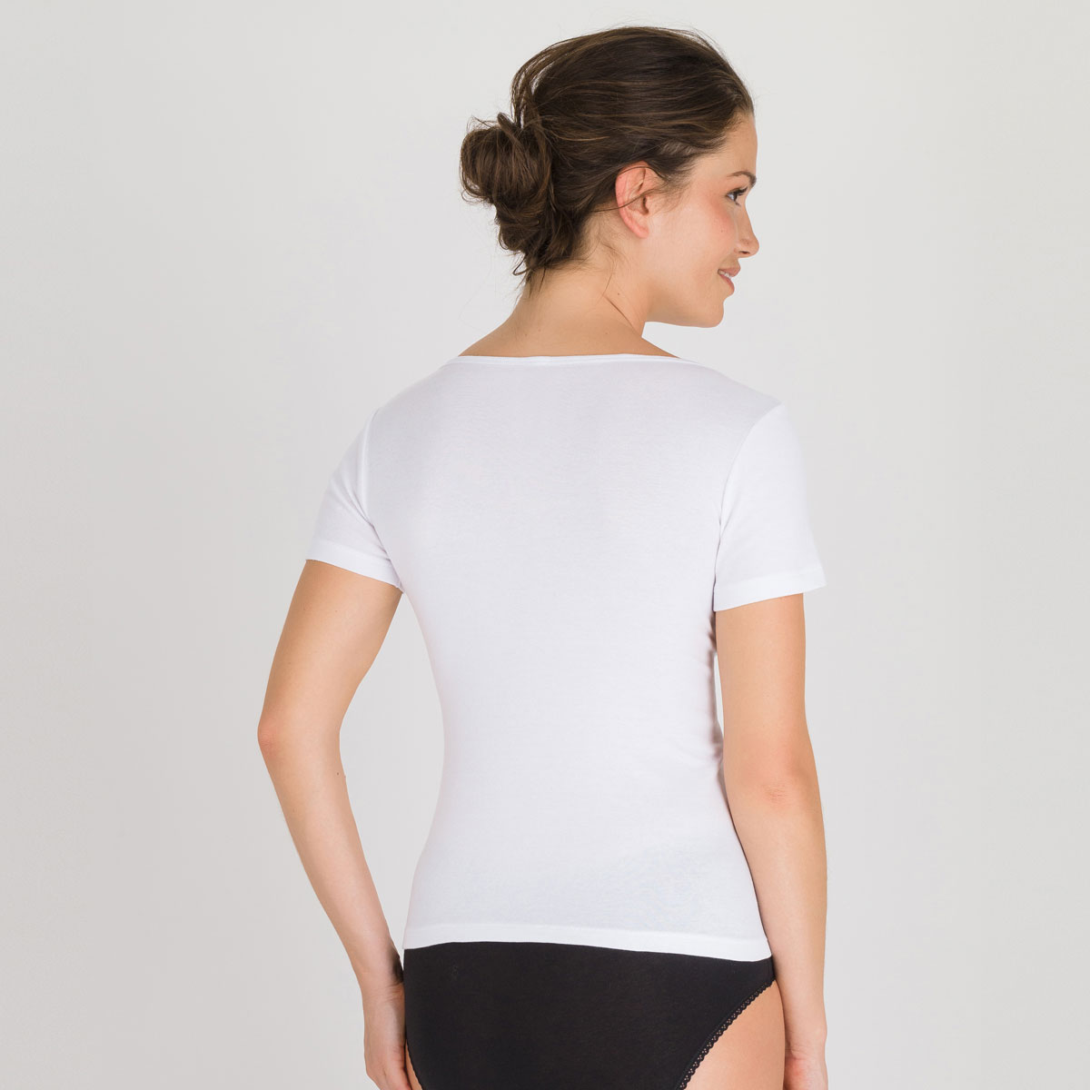 Short Sleeve Top in White - Cotton Liberty-PLAYTEX