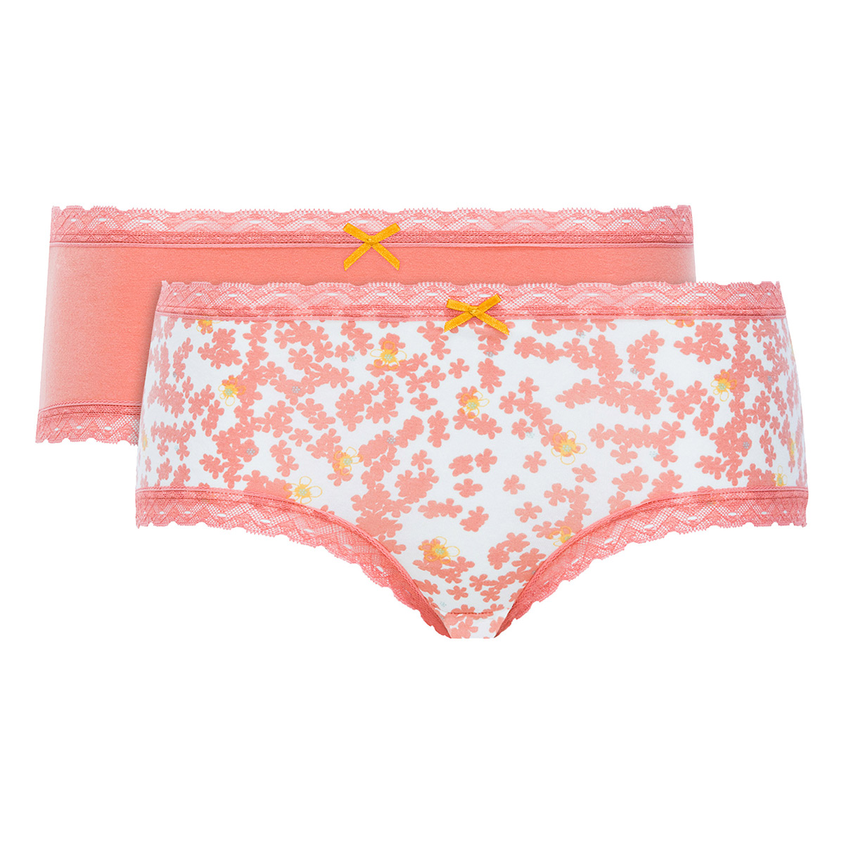 Lot de 2 boxers femme coton orange uni et imprimé - Basic Cotton Fancy, , PLAYTEX