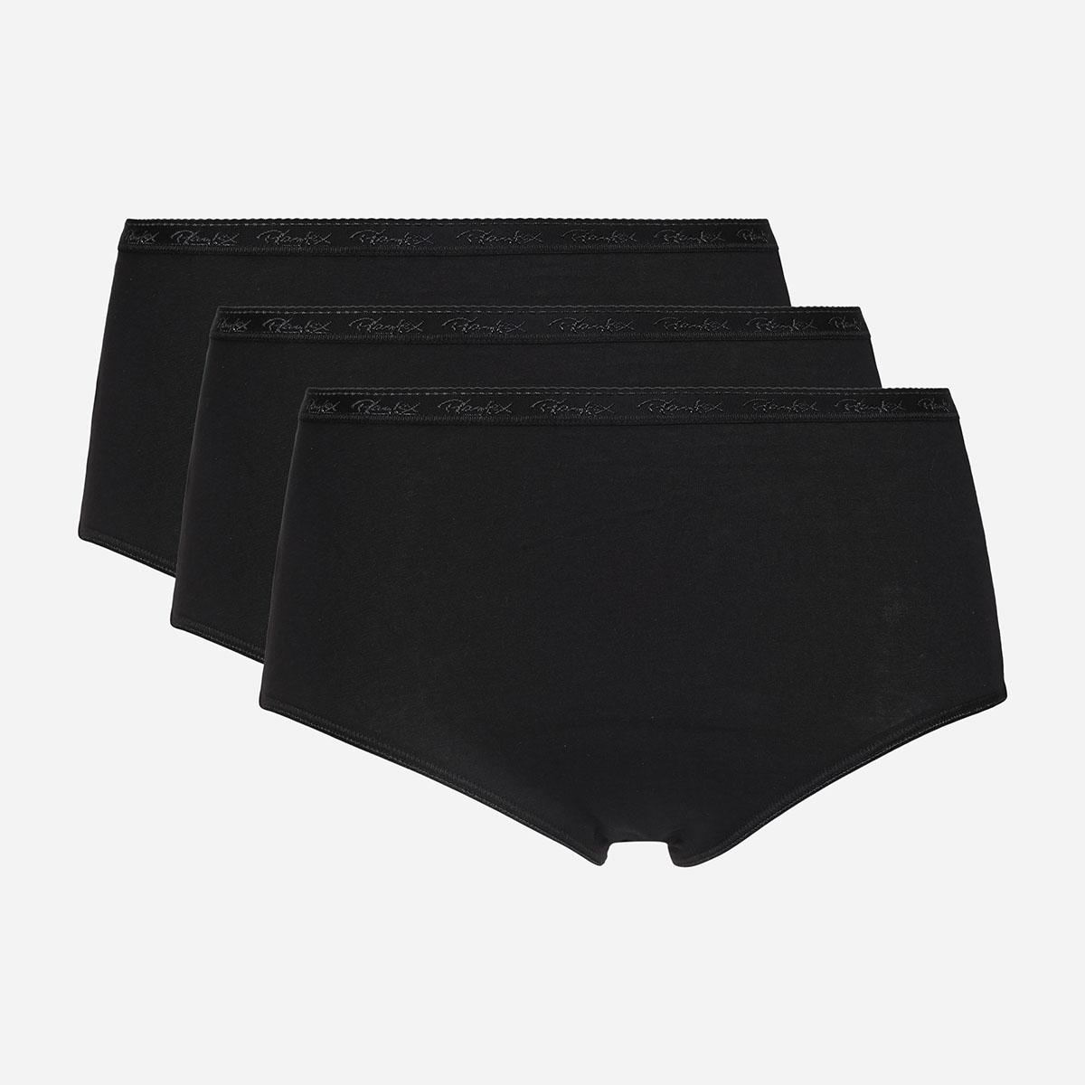 3 pack of black midi briefs in organic cotton, , PLAYTEX