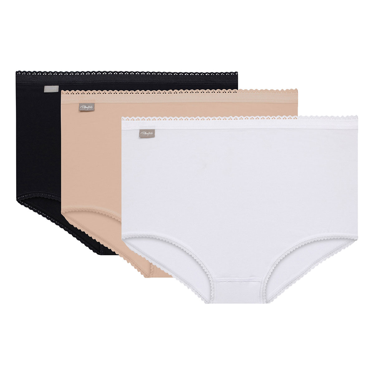 3 Pack Maxi briefs : white, black and beige - Cotton Stretch-PLAYTEX