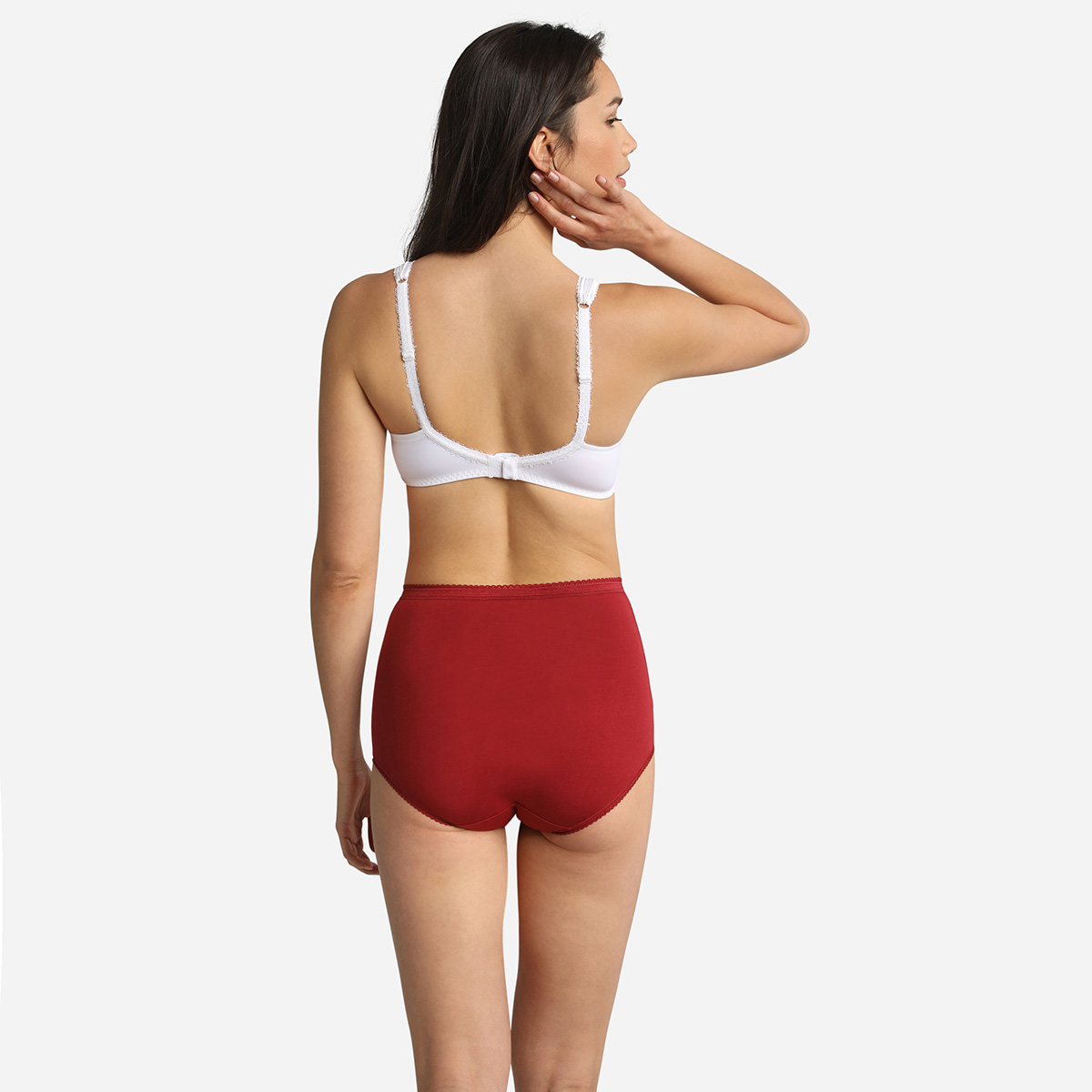 3 pack of full briefs in beige, red and white, , PLAYTEX