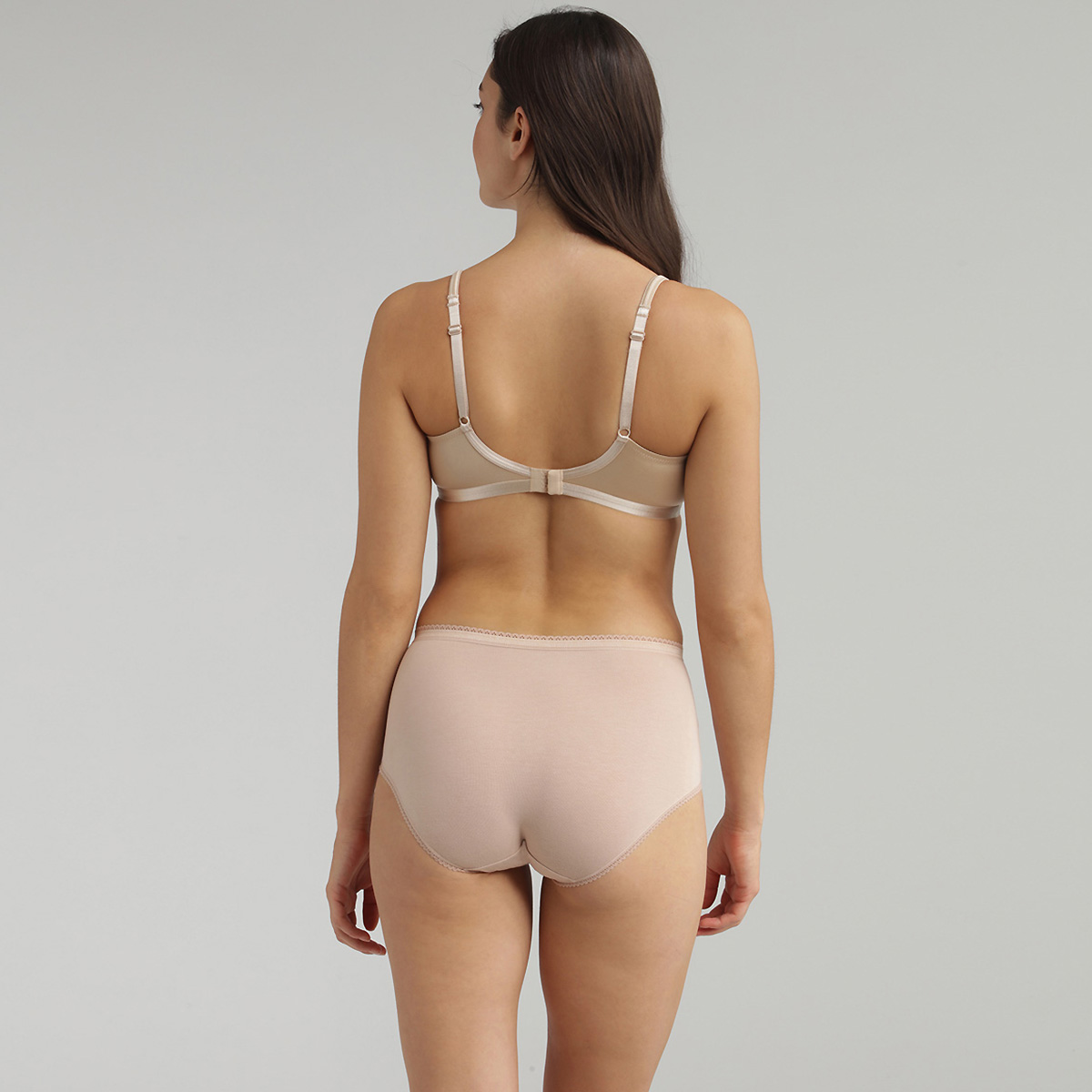 Pack de 2 bragas midi beiges Coton Stretch, , PLAYTEX