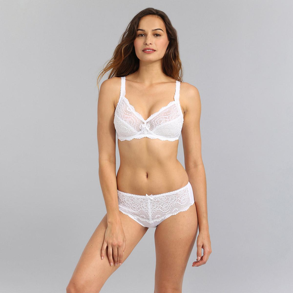 Soutien-gorge sans armatures blanc Flower Elegance, , PLAYTEX