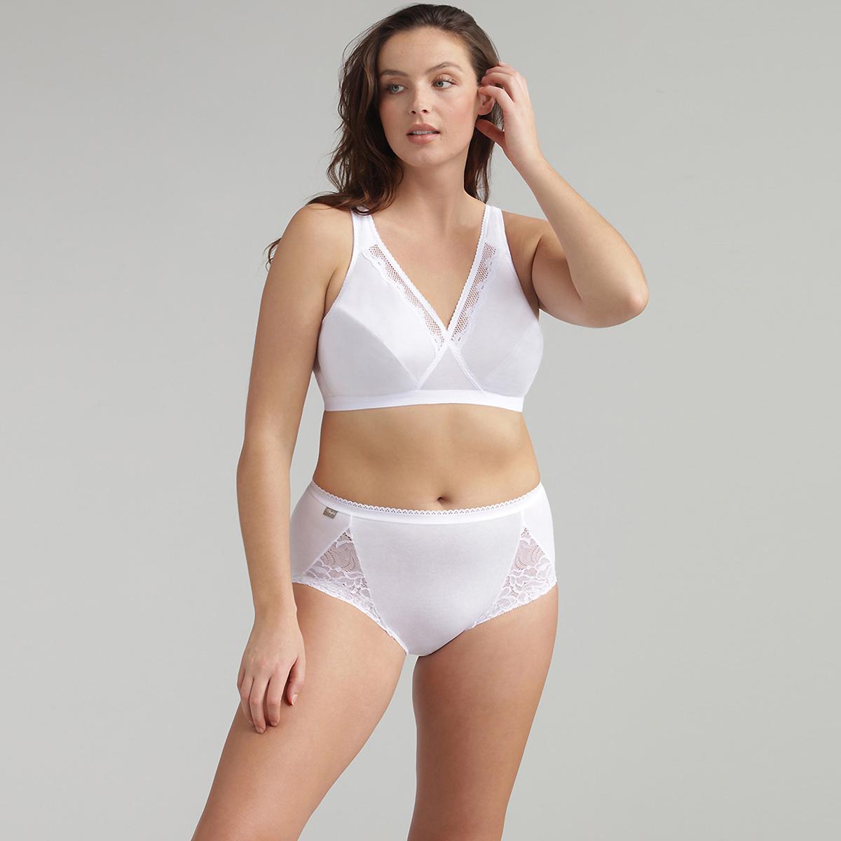 Soutien-gorge sans armatures blanc – Cœur Croisé Coton, , PLAYTEX