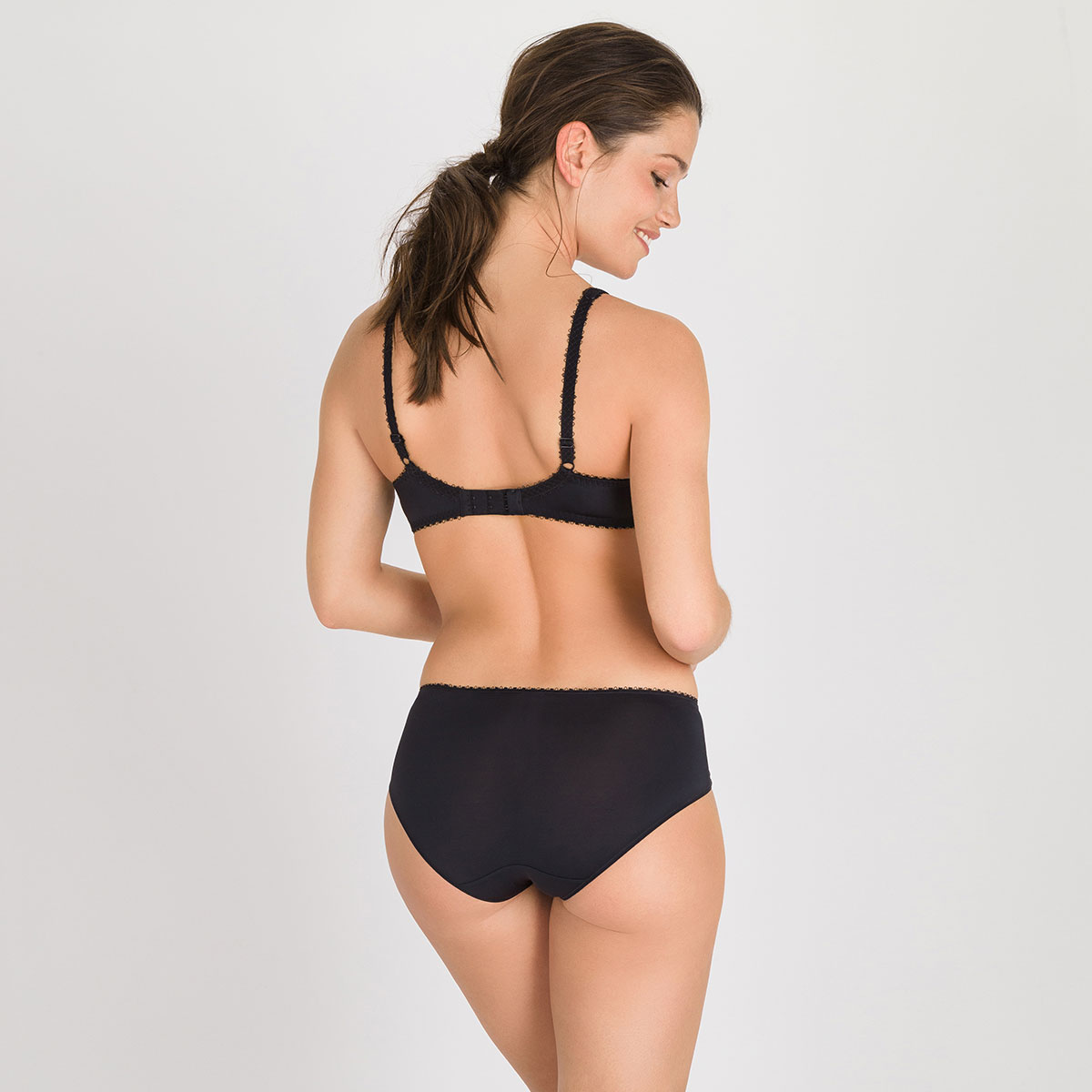 Midi Brief in Black – Flower Elegance-PLAYTEX