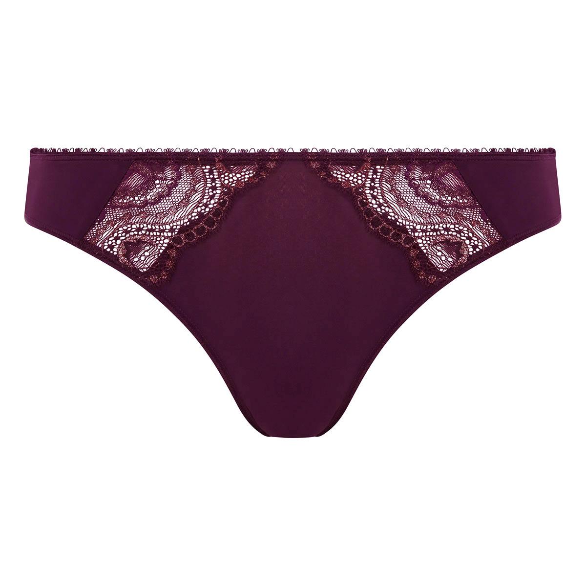 Bikini Knickers in Dark Berry Lurex Flower Elegance, , PLAYTEX