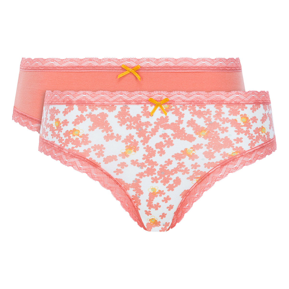Pack of 2 Bikini Knickers in Orange Print - Cotton Fancy - PLAYTEX