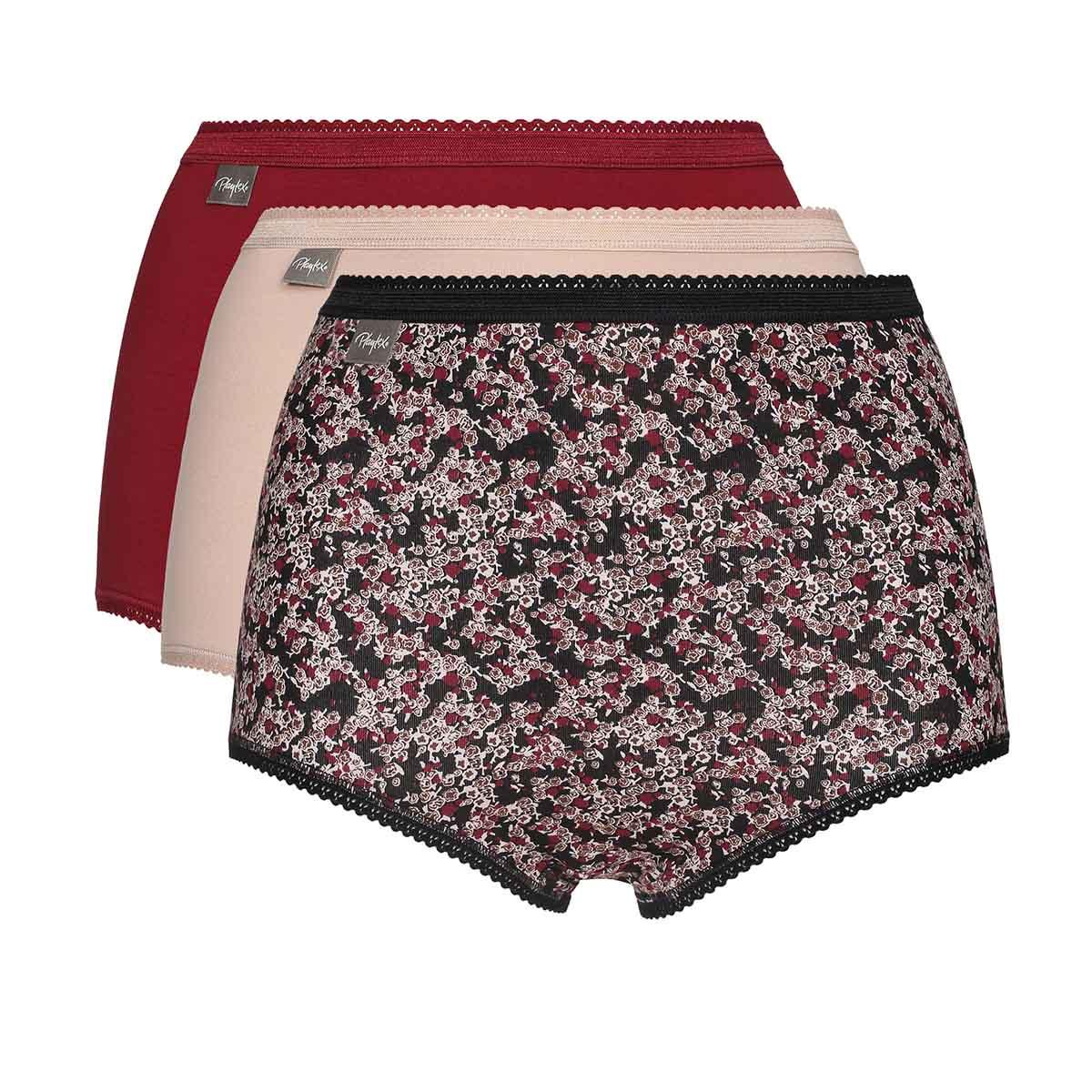 Lote de 3 bragas maxi rojo, beige y estampado floral Cotton Stretch, , PLAYTEX
