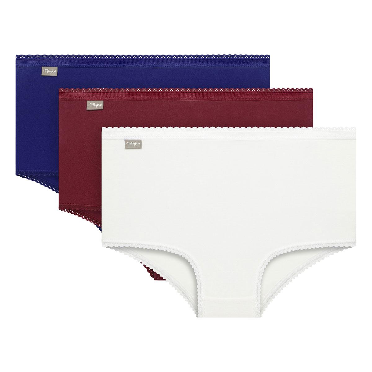Lot de 3 culottes coton taille haute blanche rouge et bleu Coton Stretch, , PLAYTEX