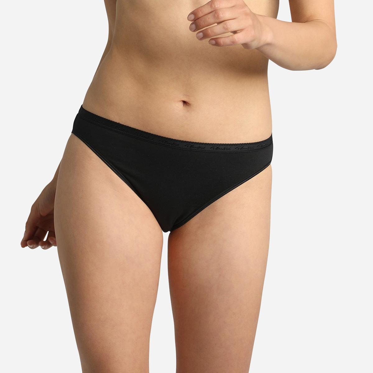 Lote de 2 bragas bikini negras Algodón Bio, , PLAYTEX