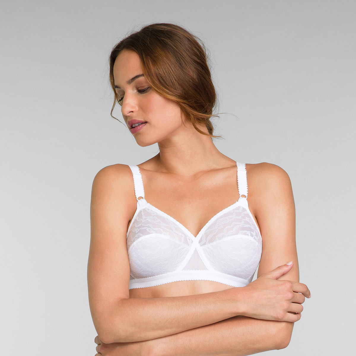 2 Pack of Non Wired Bras in White Cross Your Heart 165, , PLAYTEX