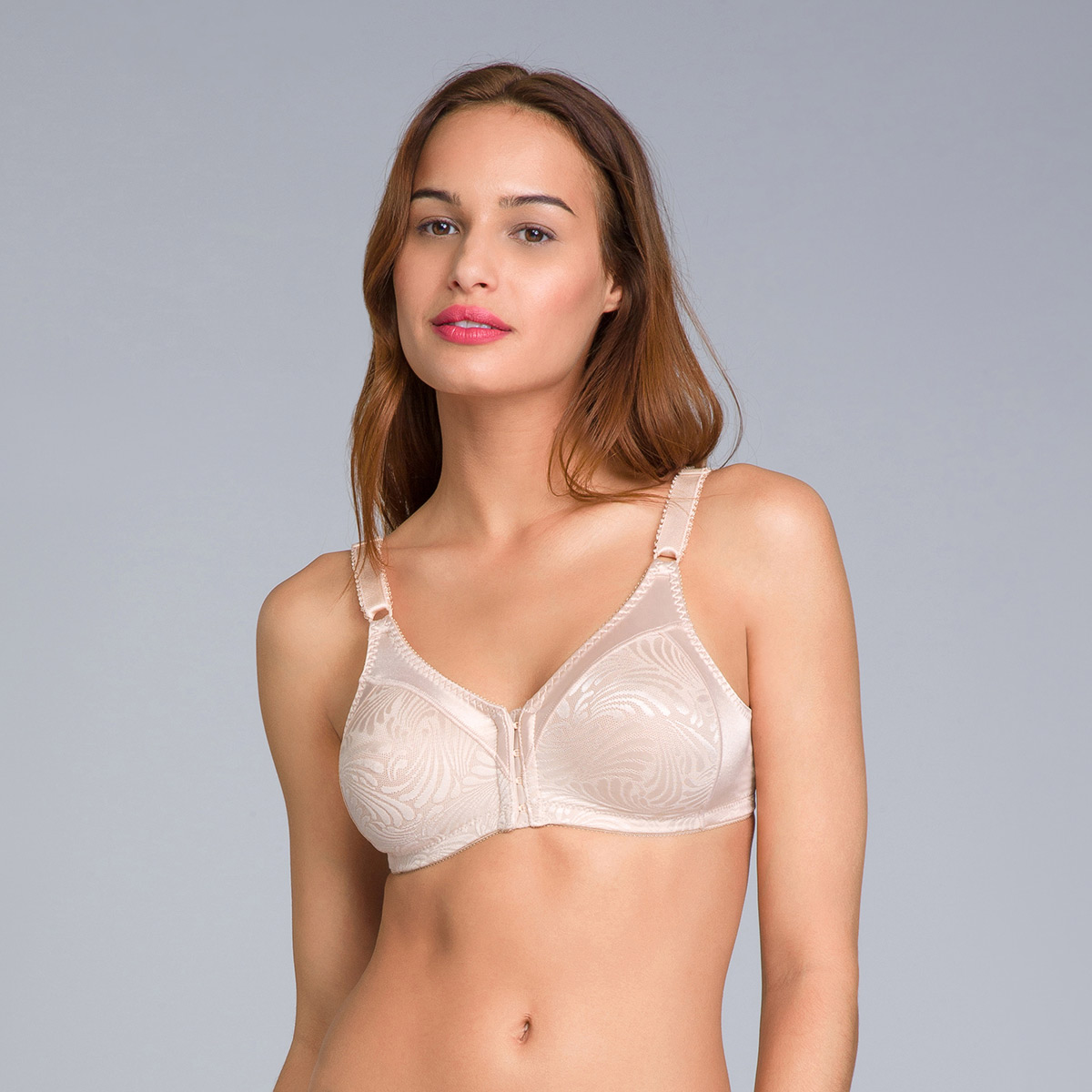 Non-Wired Bra with Front Closure in Soft Taupe - Double Support - PLAYTEX