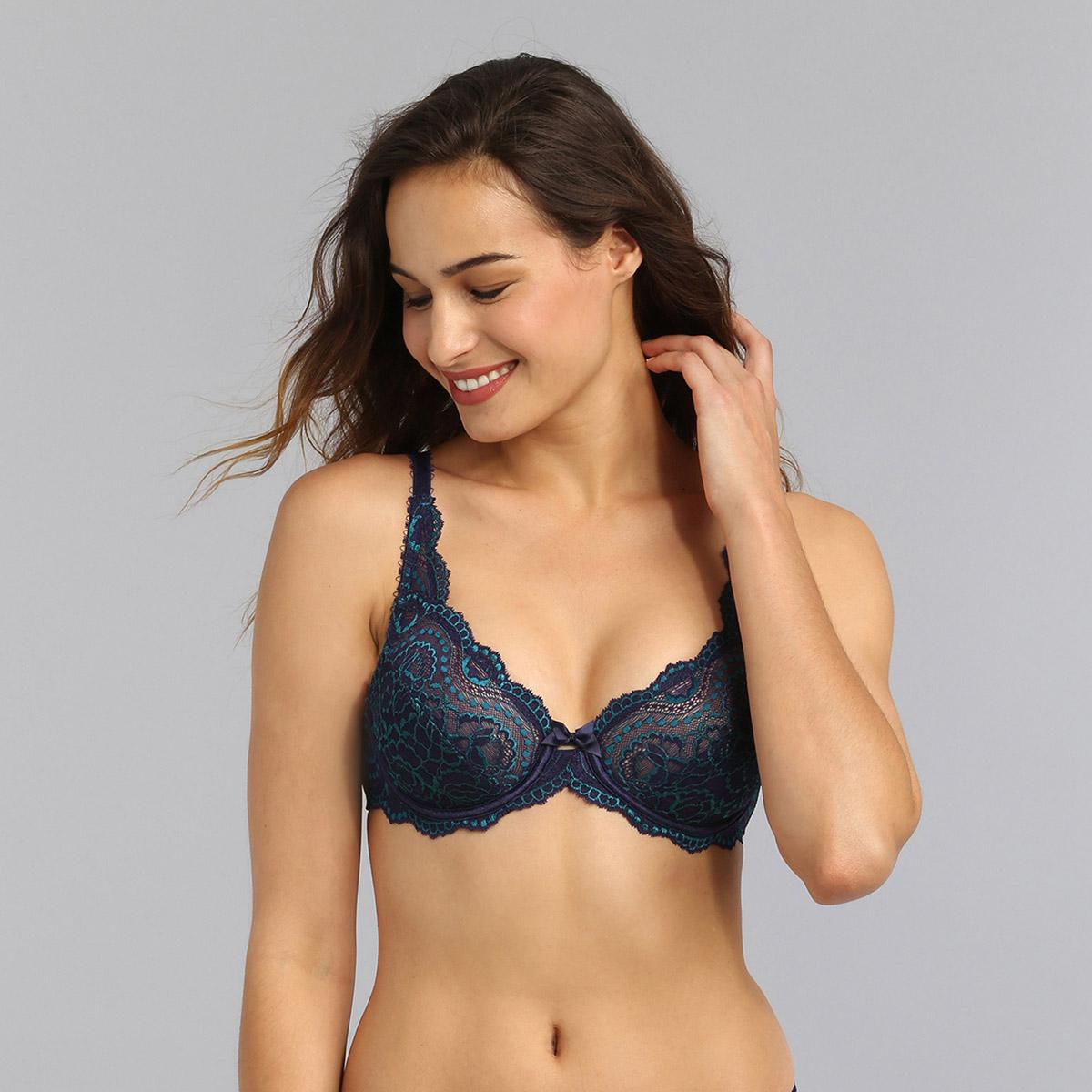 Underwired bra in navy Flower Elegance, , PLAYTEX