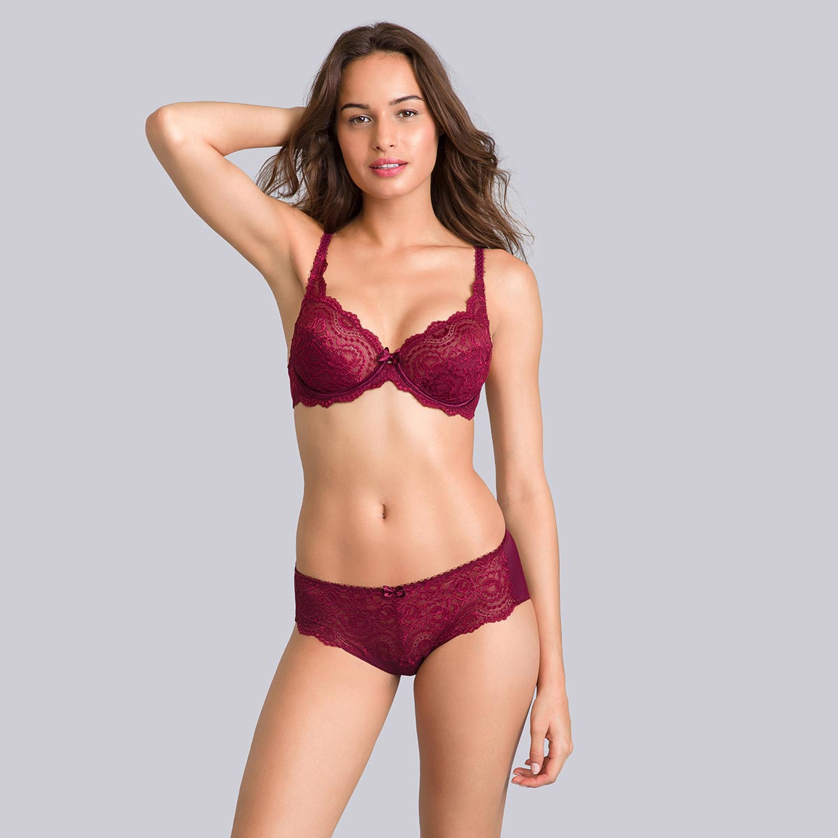 Purple burgundy midi briefs - Flower Elegance-PLAYTEX