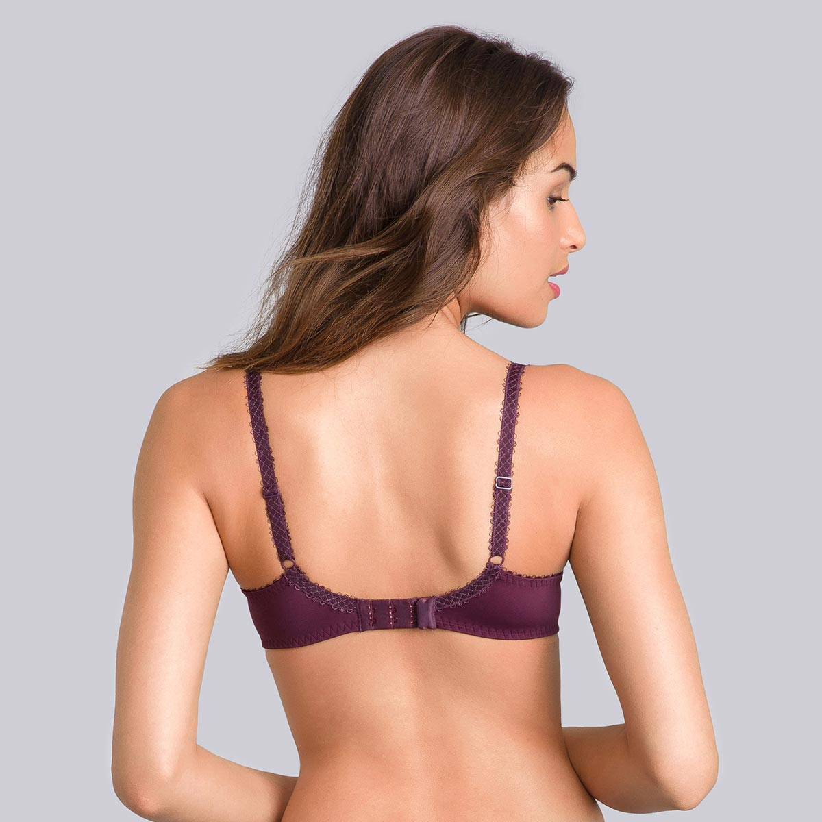Black full-cup bra with plum print - Flower Elegance-PLAYTEX