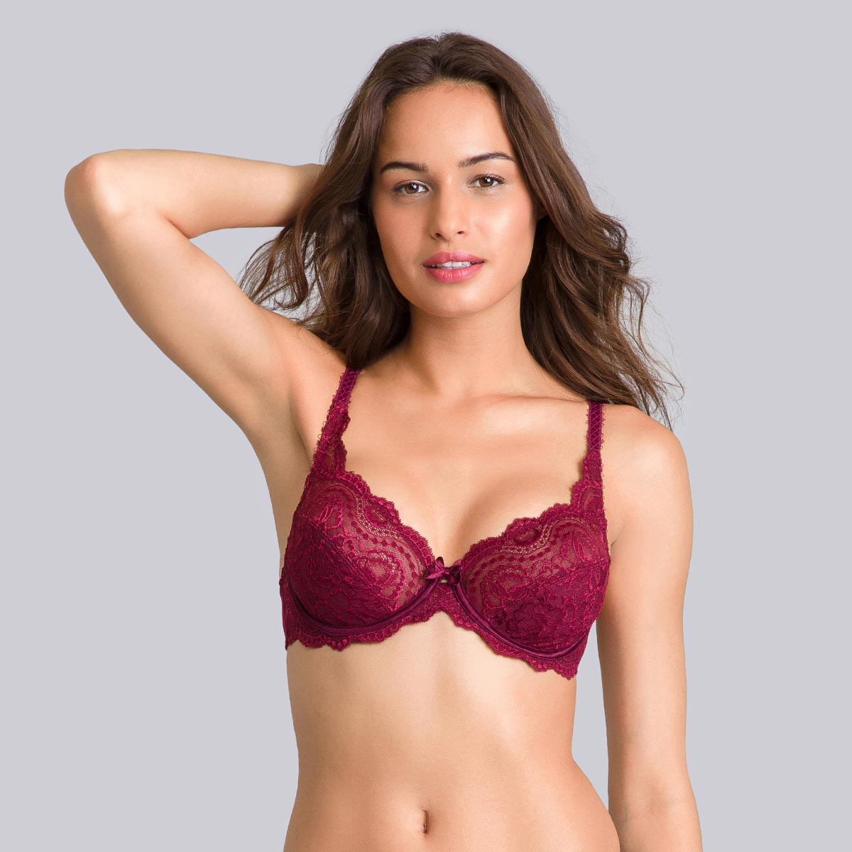 Purple burgundy full-cup bra - Flower Elegance-PLAYTEX