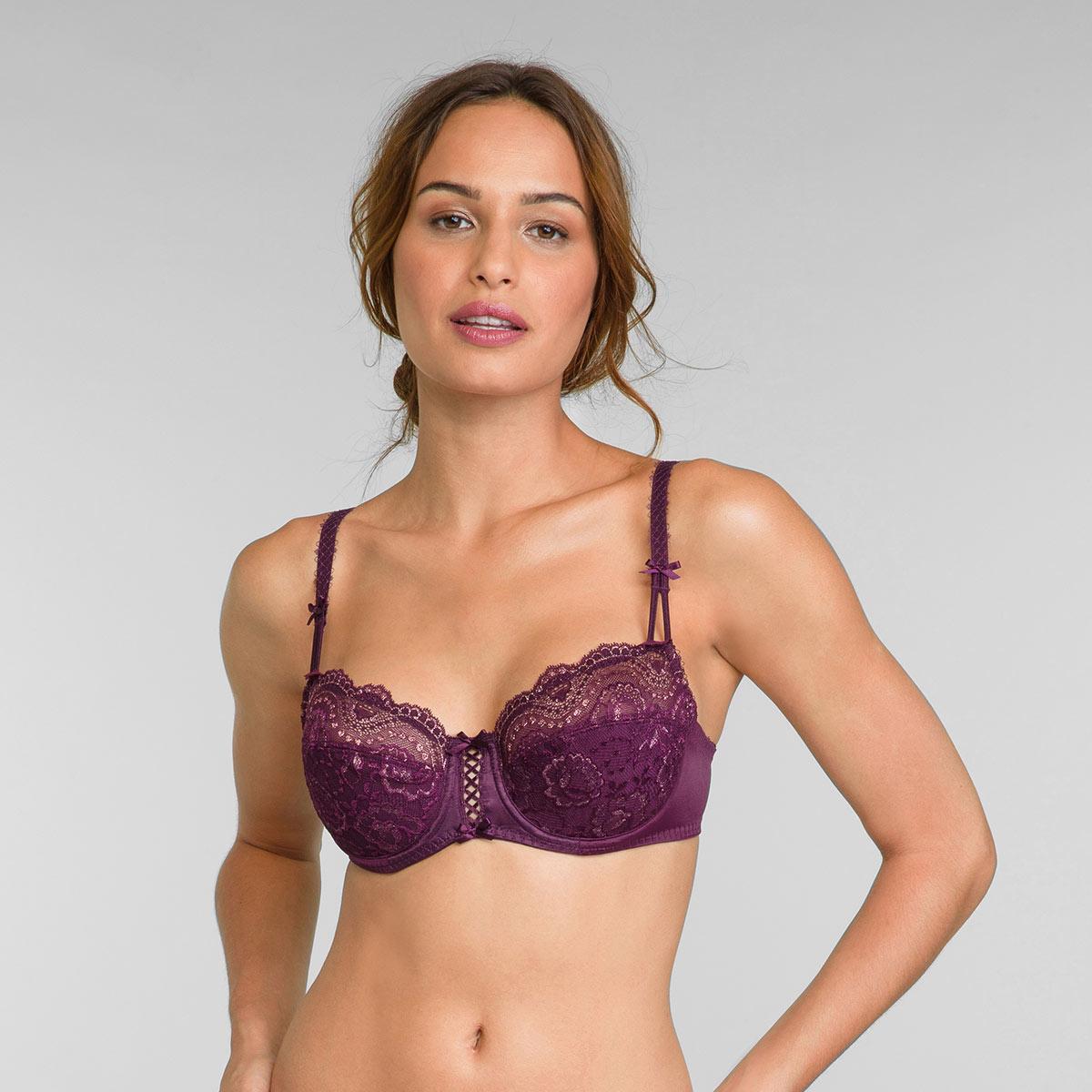 Soutien-gorge balconnet violet et doré Flower Elegance, , PLAYTEX