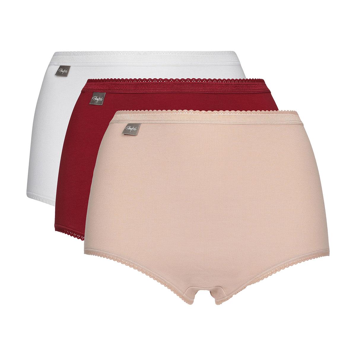 Lote de 3 bragas maxi blanca, roja y beige Coton Stretch, , PLAYTEX