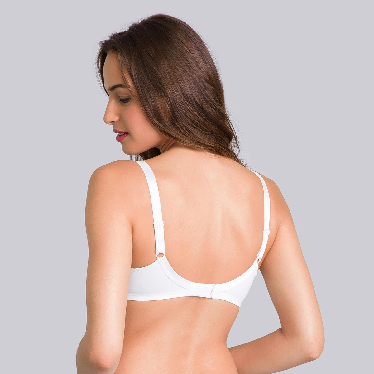 Non-Wired Full Cup Bra in White - Cross Your Heart Modern Tricot-PLAYTEX