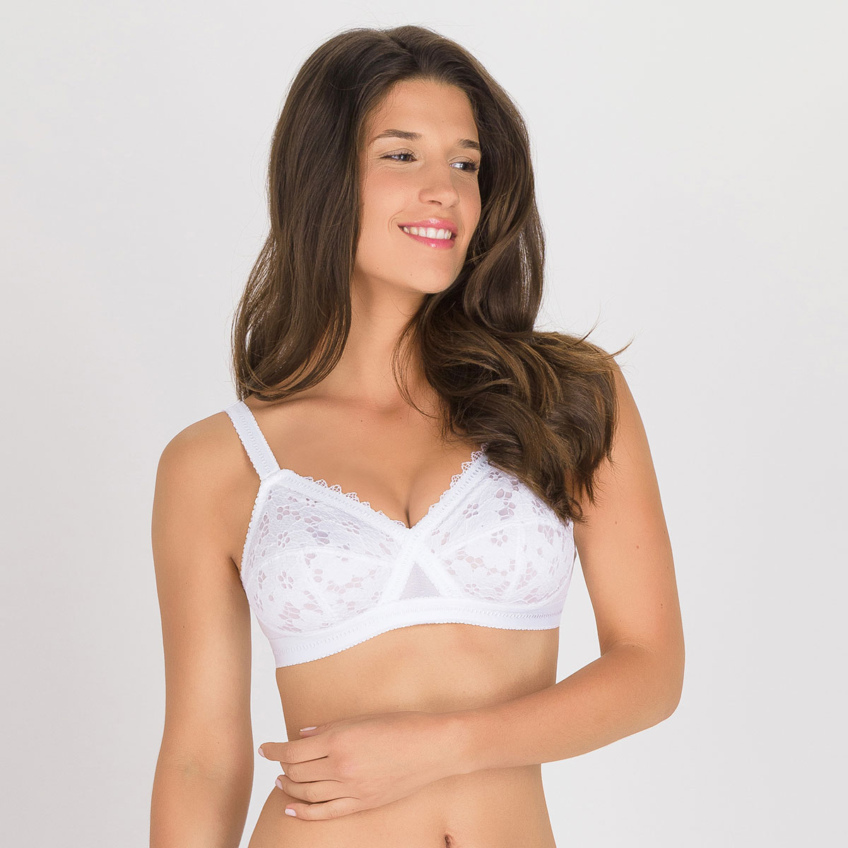 Non-wired Bra in White – Classic Lace Support-PLAYTEX