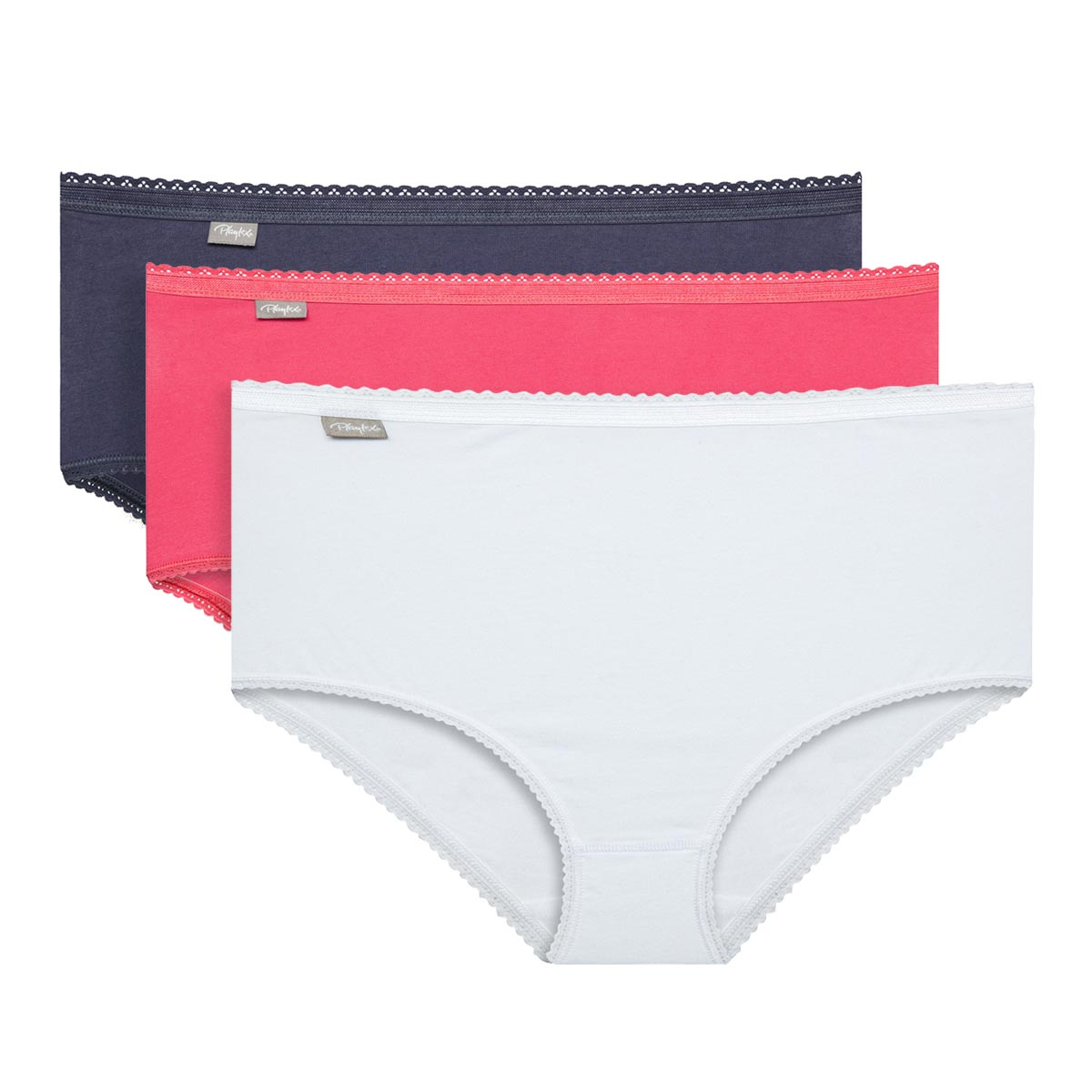 3 pack of white, grey and coral  midi briefs-PLAYTEX