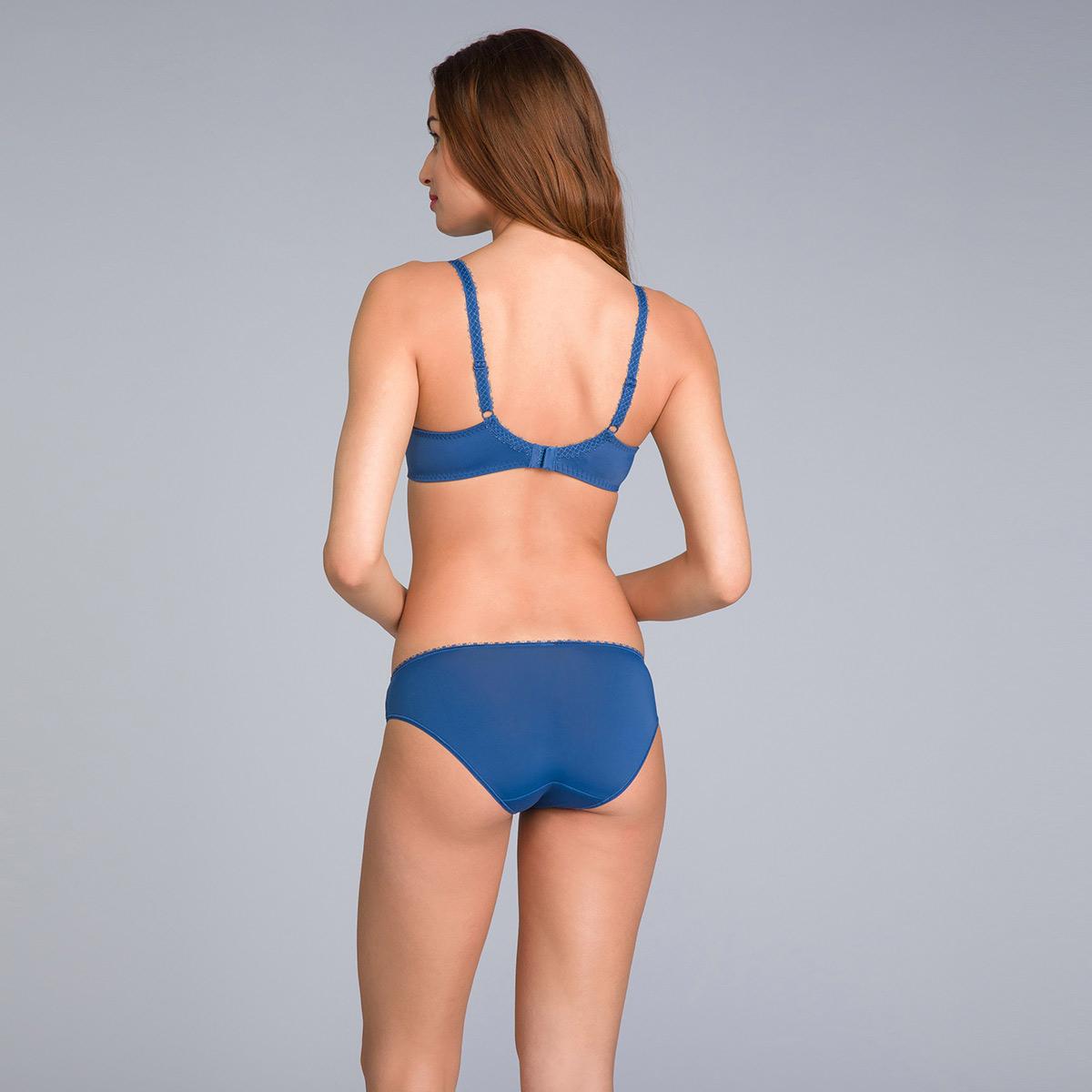 Bikini Knickers in Lace & Microfibre Navy Blue Print - Flower Elegance - PLAYTEX