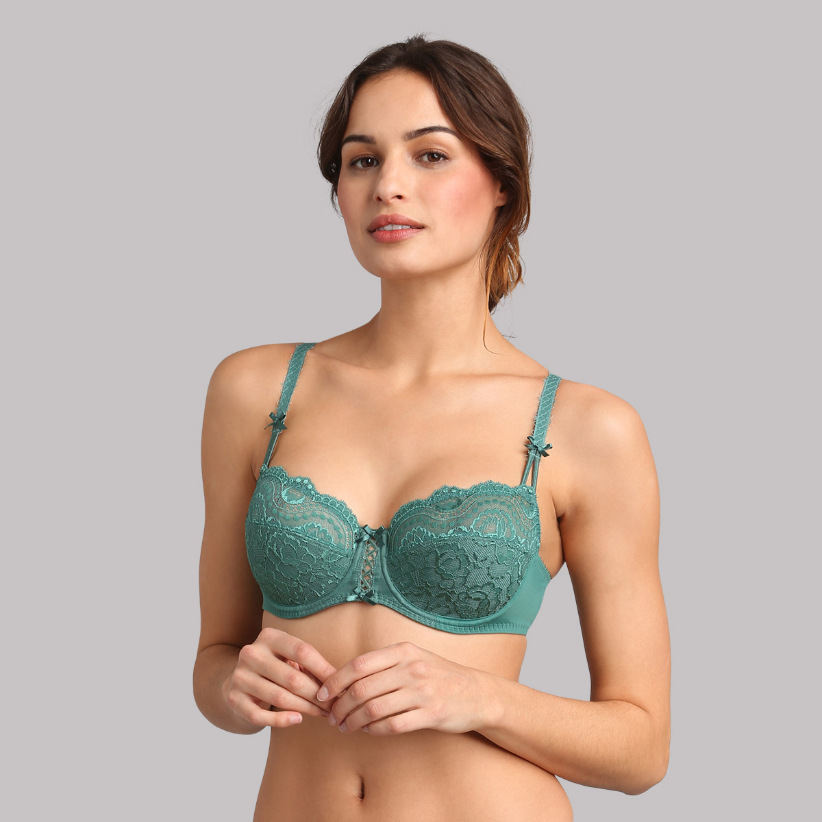 Balcony bra in deep green palm - Flower Elegance, , PLAYTEX