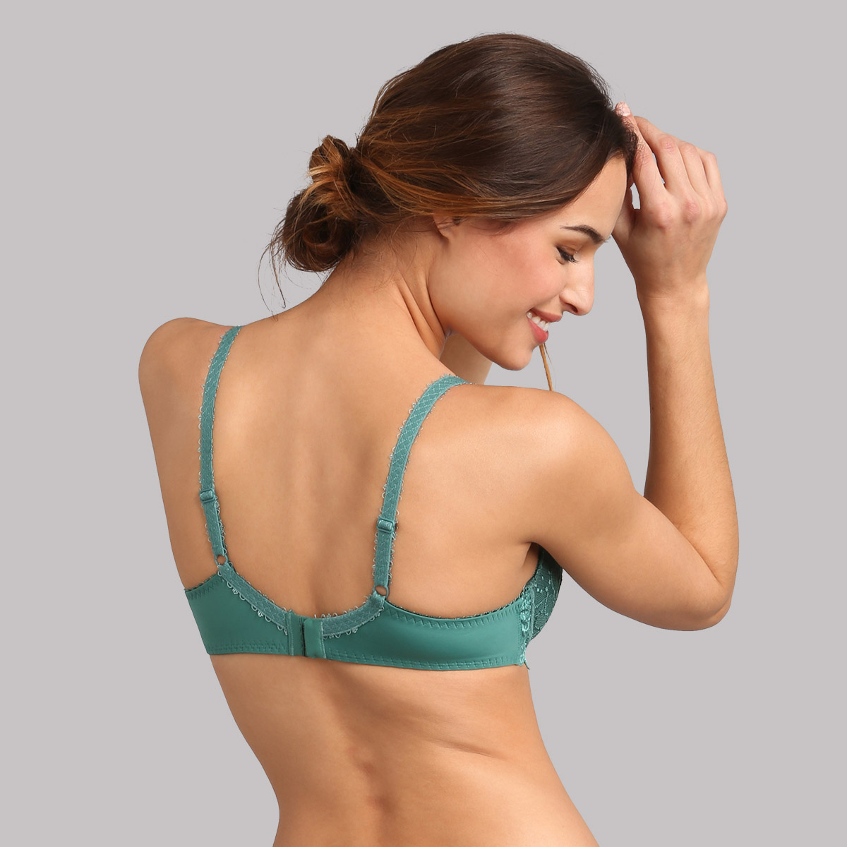 Underwired bra in deep green palm - Flower Elegance, , PLAYTEX