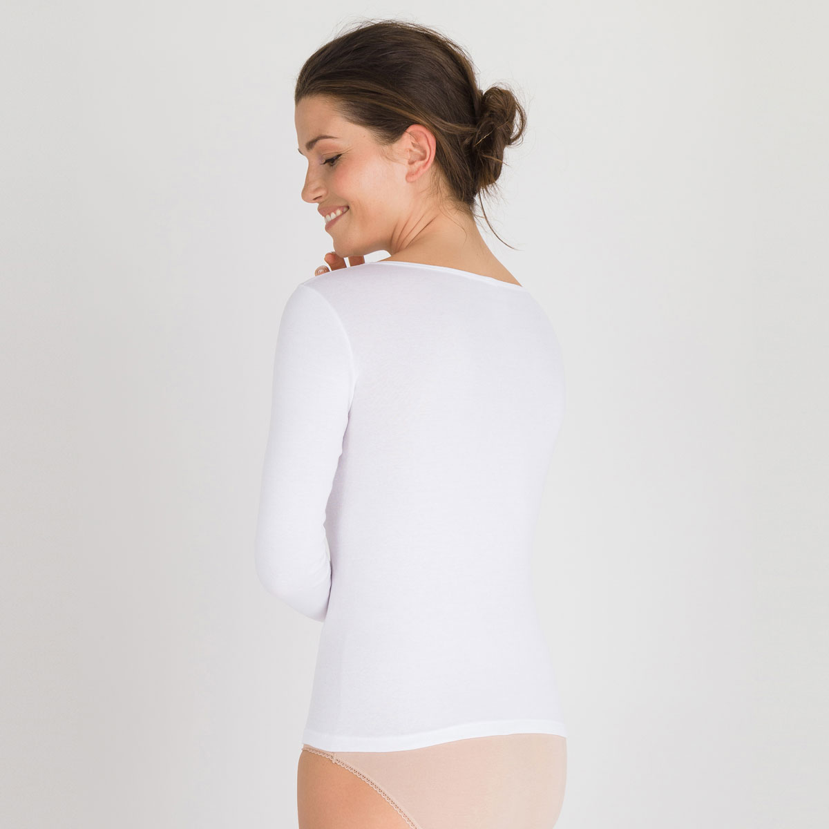 Long Sleeve Top in White - Cotton Liberty-PLAYTEX