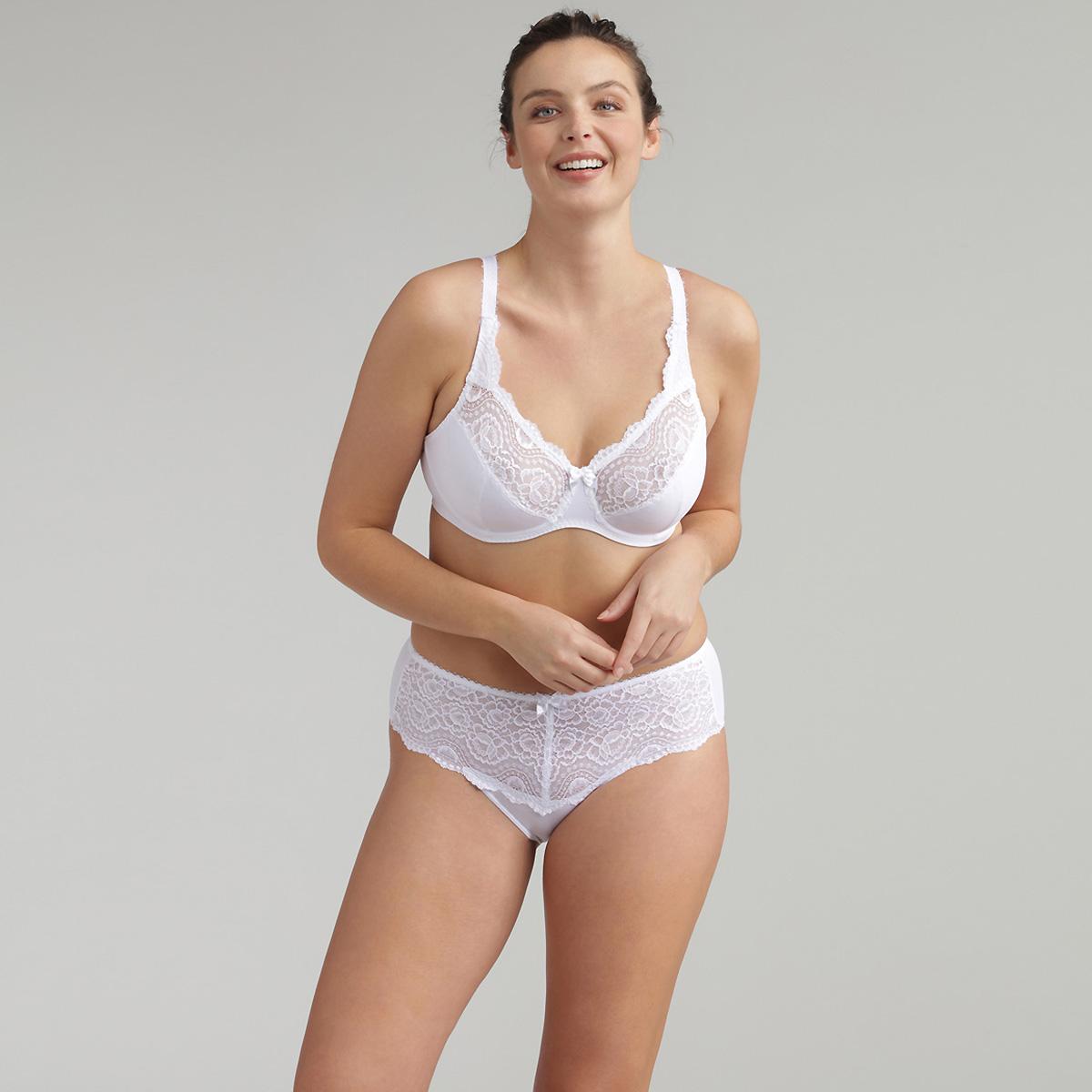 Full Cup Bra in White - Flower Elegance Micro, , PLAYTEX