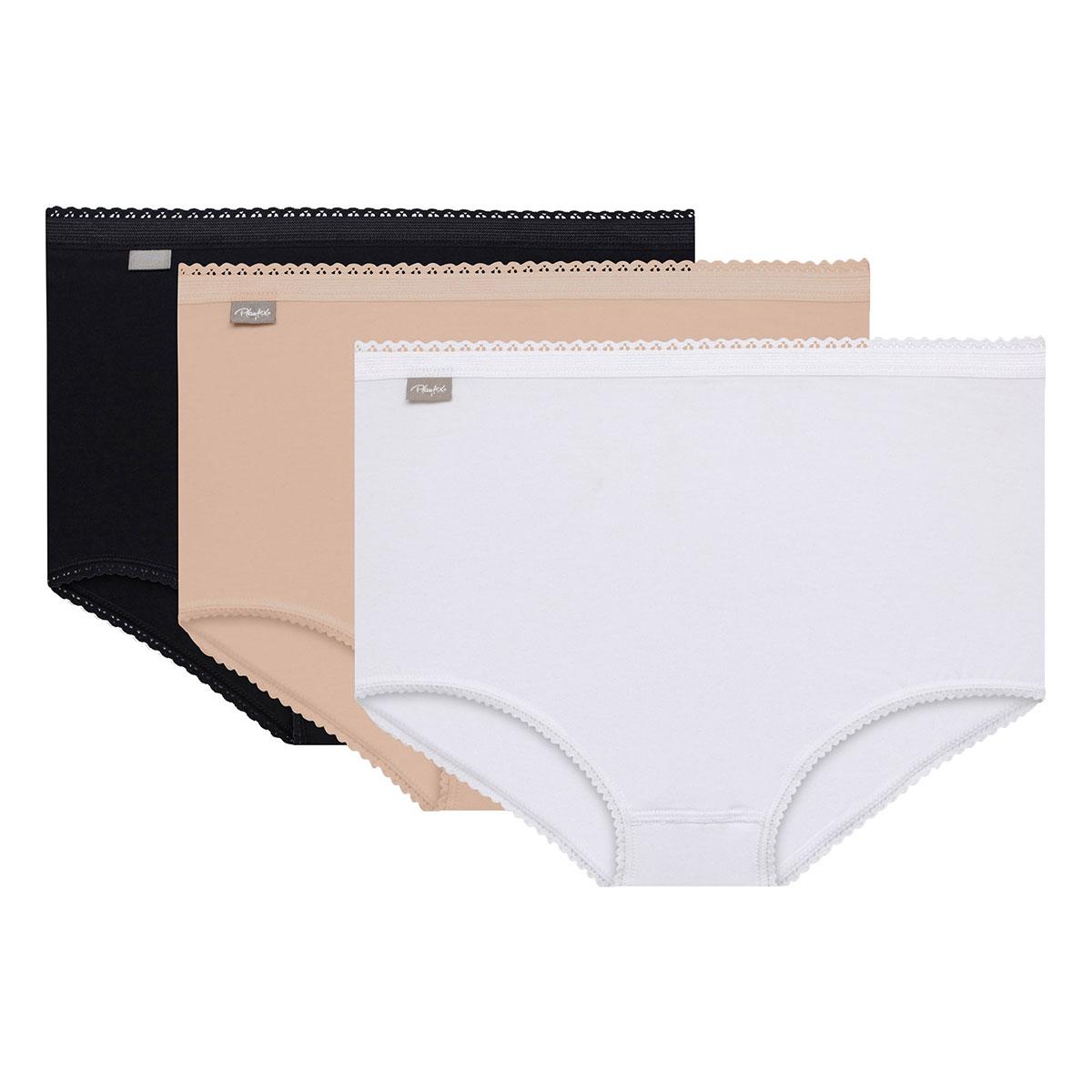 3 culottes Maxi noire, blanche et beige - Coton Stretch, , PLAYTEX