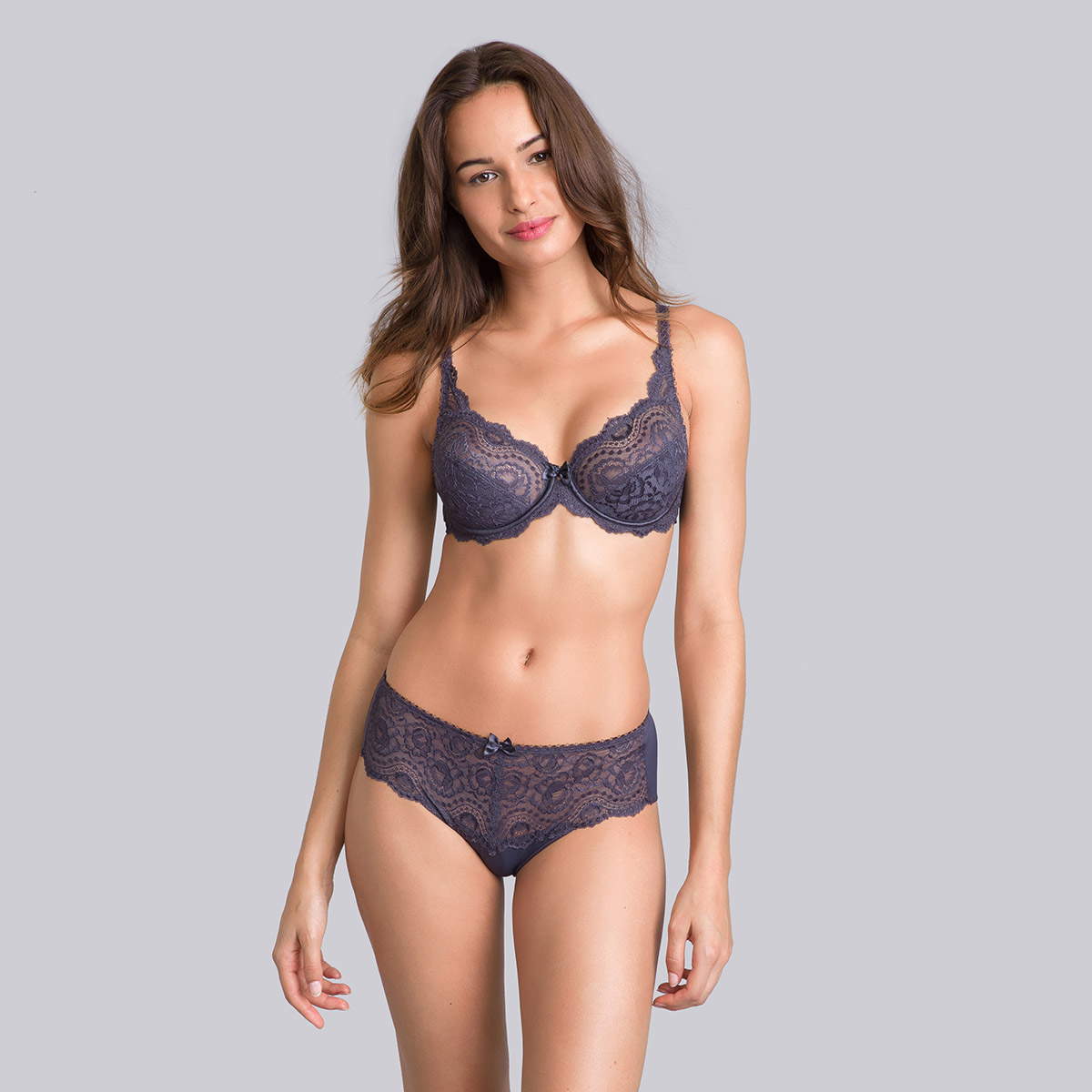 Steel grey full-cup bra - Flower Elegance-PLAYTEX