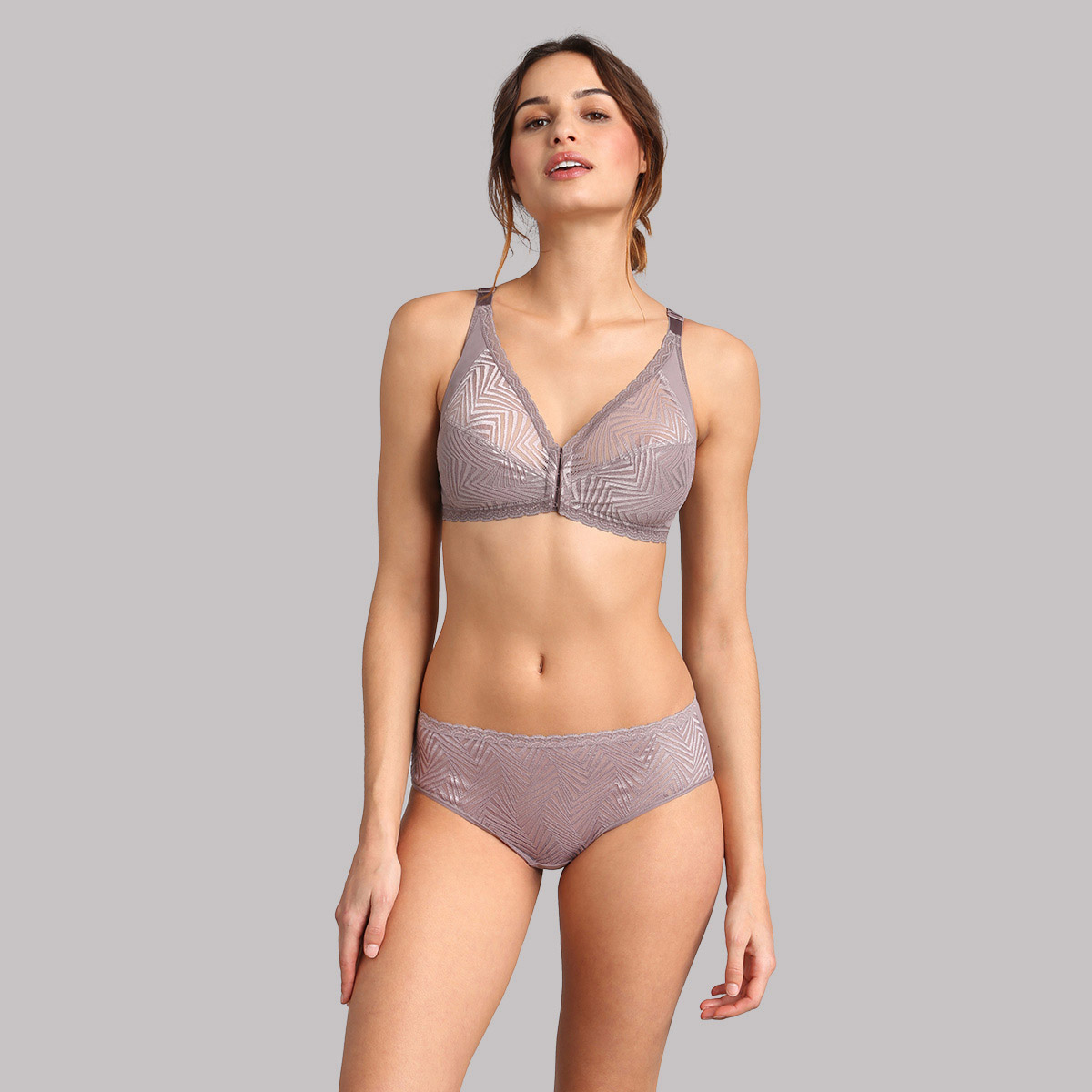 Culotte midi dentelle taupe Ideal Posture, , PLAYTEX