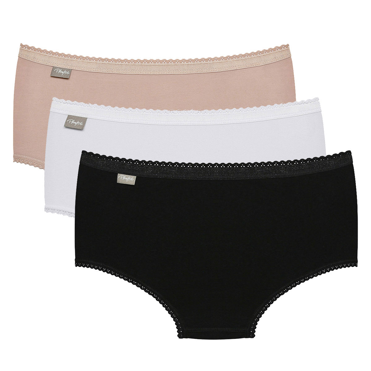 3 Pack Midi briefs : white, black and beige - Cotton Stretch-PLAYTEX
