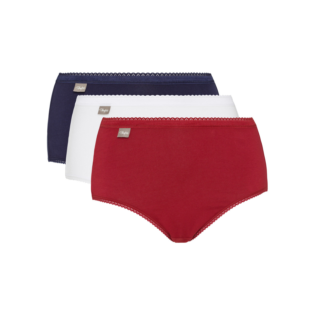 3 pack of midi knickers in red, navy & white Cotton Stretch, , PLAYTEX