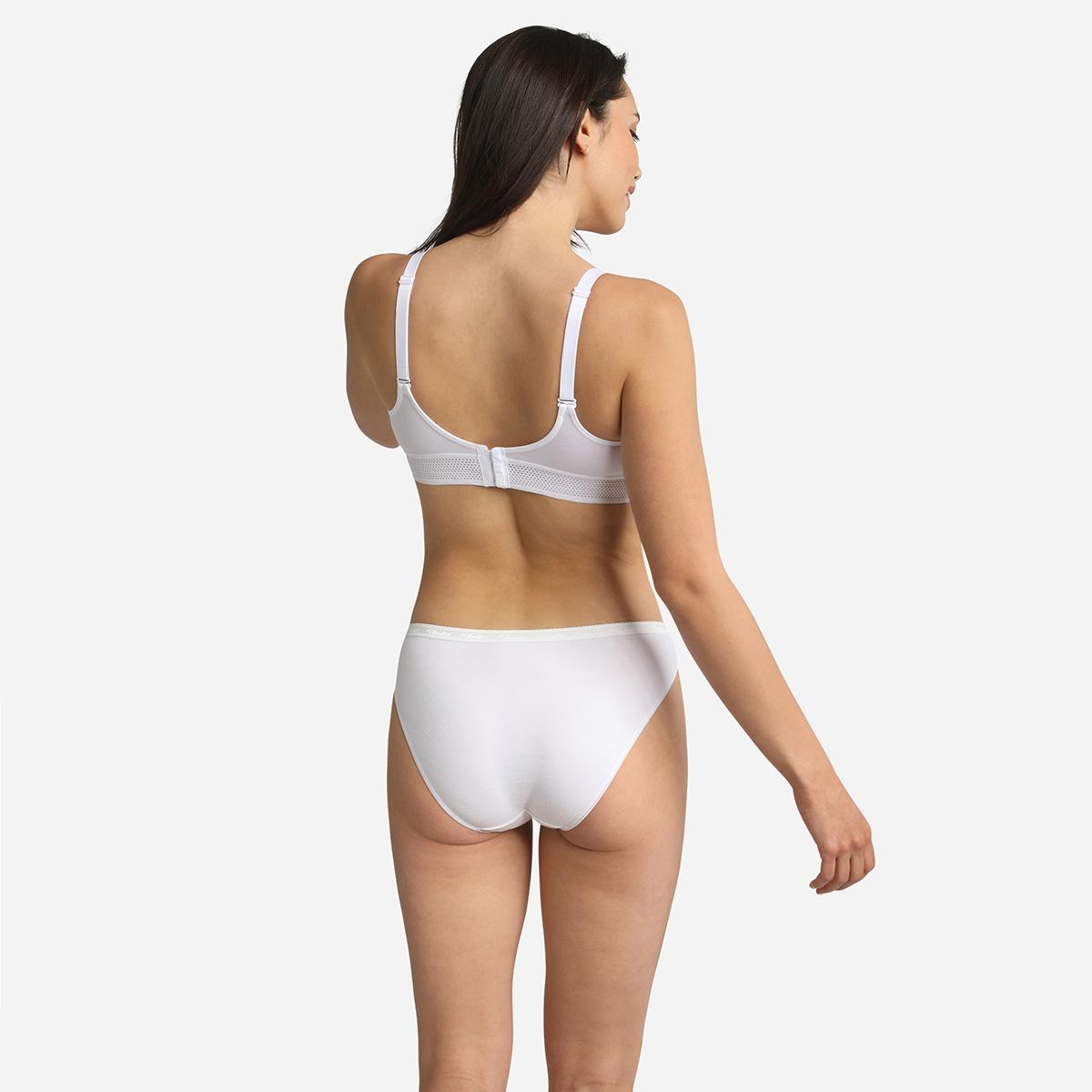 Lote de 2 bragas bikini blancas Algodón Bio, , PLAYTEX