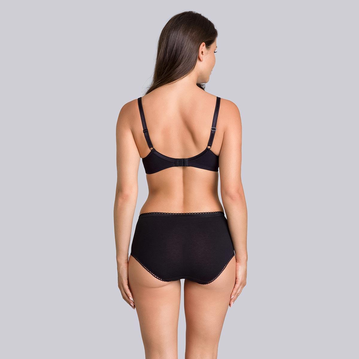 Non-wired cotton bra in black Cotton Support, , PLAYTEX