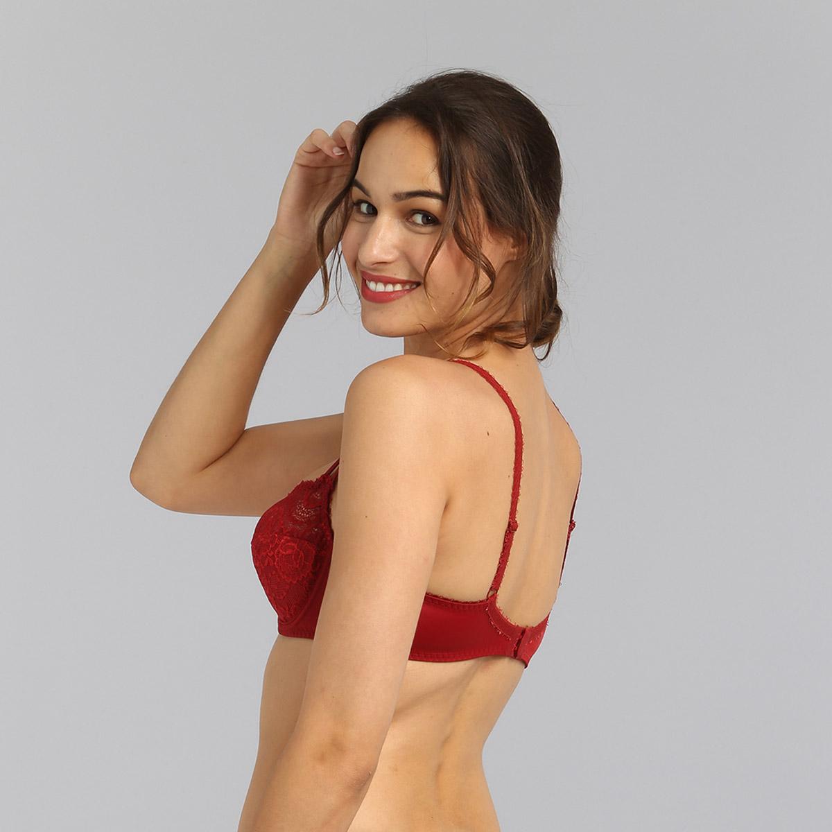 Balcony bra in dark red Flower Elegance, , PLAYTEX