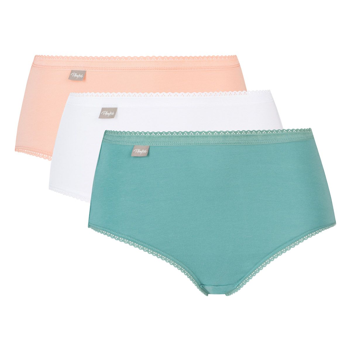 Pack of 3 midi knickers in green, white and baby pink - Cotton Stretch, , PLAYTEX