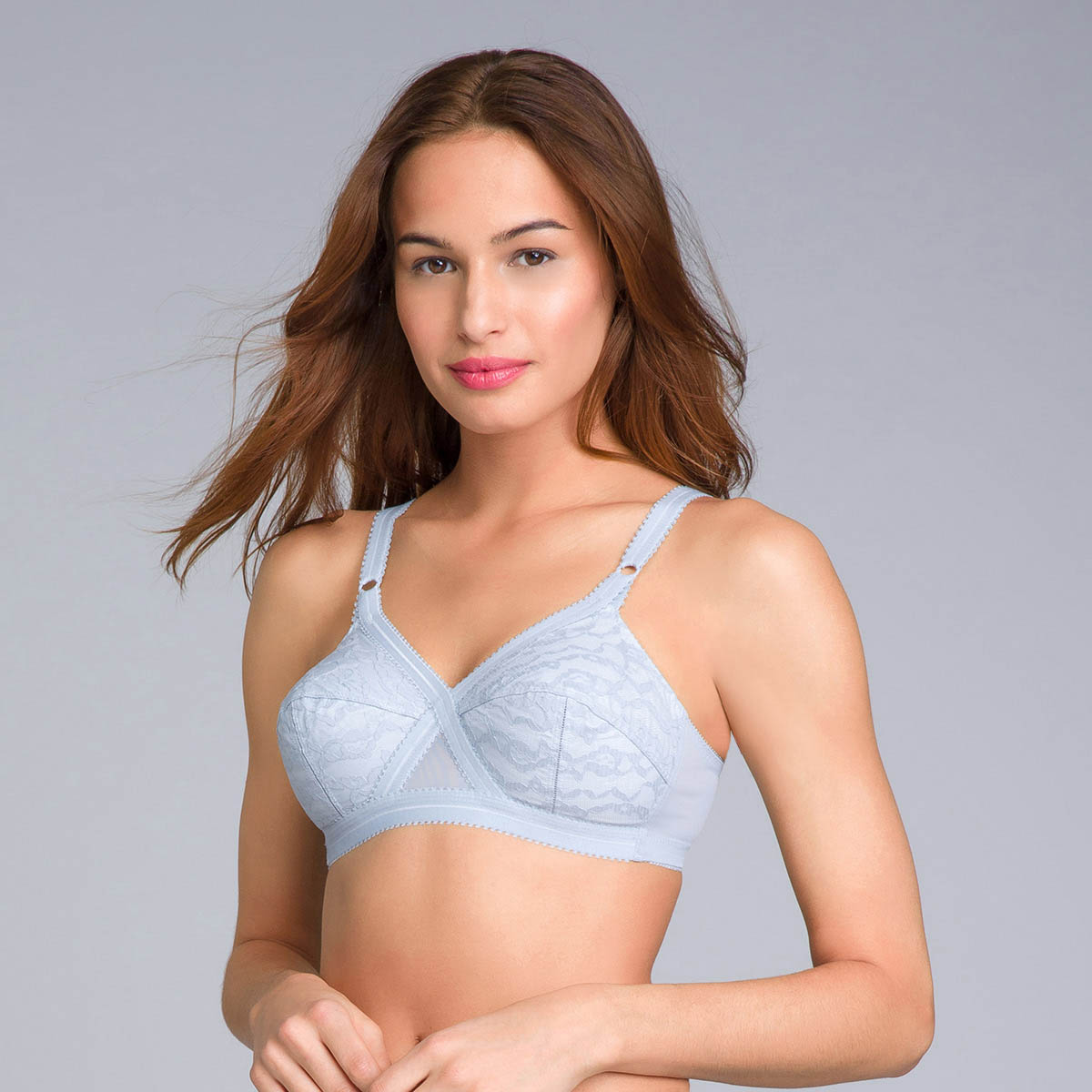 Non-Wired Full Cup Bra in Blue Fog Lace - Cross Your Heart 556 - PLAYTEX