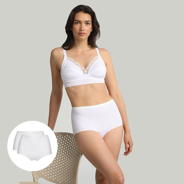 Lot de 2 culottes taille haute blanches Coton Bio, , PLAYTEX