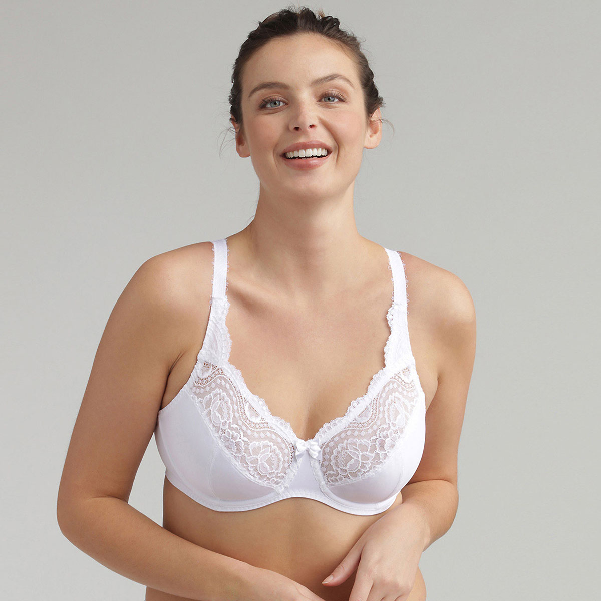 Full Cup Bra in White - Flower Elegance Micro, , PLAYTEX