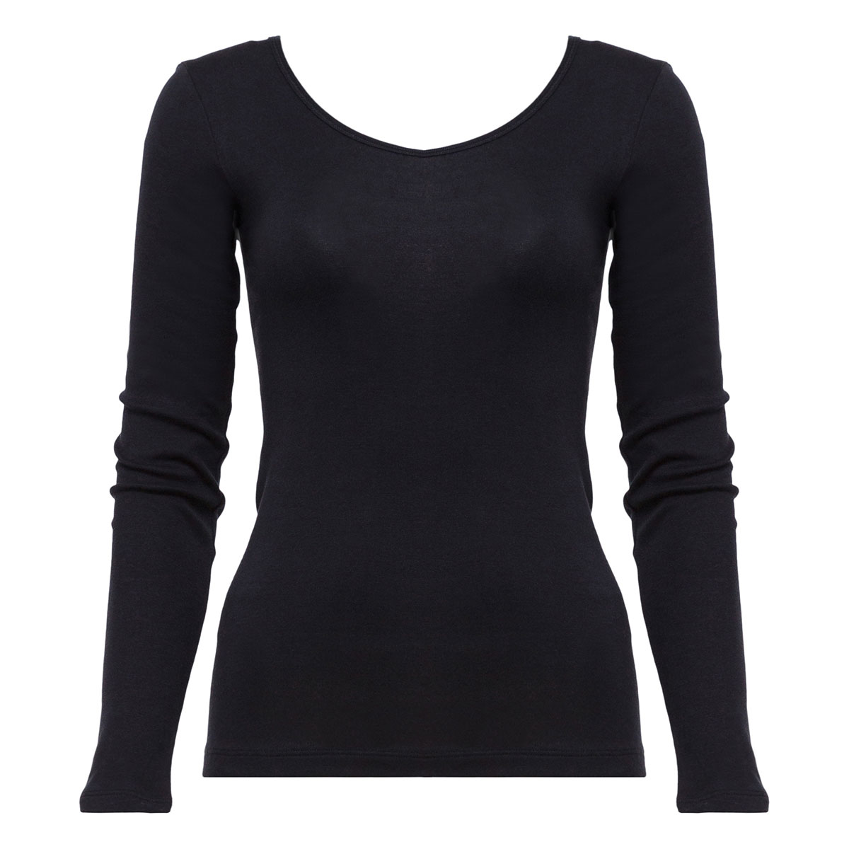 Long Sleeve Top in Black - Cotton Liberty-PLAYTEX