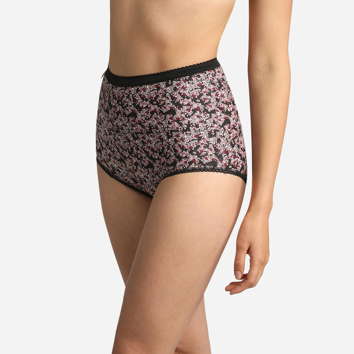 3 pack of full briefs in wild flower, red and white, , PLAYTEX
