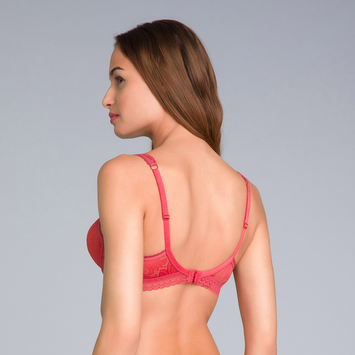 Balcony Bra in Heritage Red Lace - Invisible Elegance-PLAYTEX